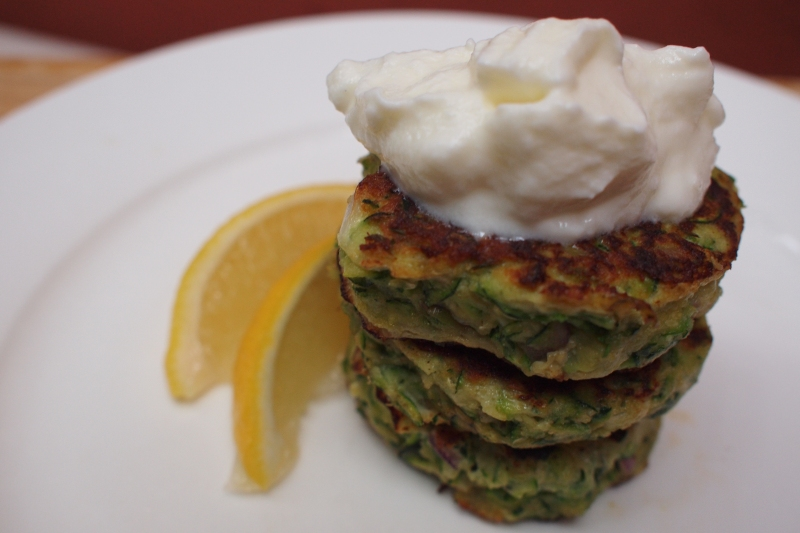 green fritters on plate