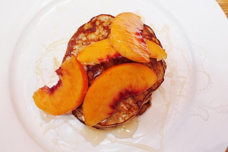 banana pancakes peaches and honey