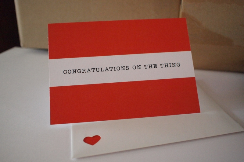 congratulations on the thing - things by bean