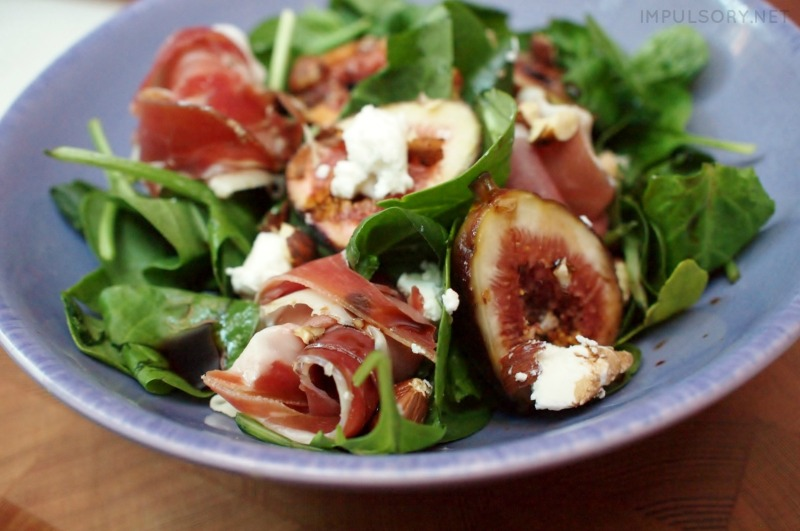 fig, prosciutto and goats cheese salad